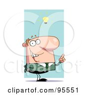 Royalty Free RF Clipart Illustration Of A Creative White Businessman Under A Lightbulb