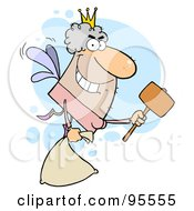 Male White Tooth Fairy Flying With A Bag And Mallet