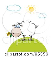 White Sheep Eating A Flower On A Sunny Day