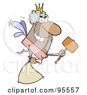 Male African American Tooth Fairy Flying With A Bag And Mallet