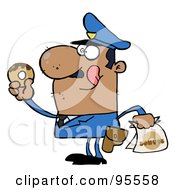 Royalty Free RF Clipart Illustration Of A Hungry African American Cop Licking His Lips And Holding A Donut by Hit Toon