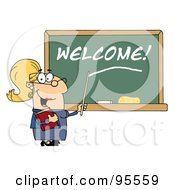 Royalty Free RF Clipart Illustration Of A Blond Female School Teacher Pointing To Welcome On A Chalkboard