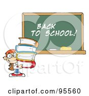 Royalty Free RF Clipart Illustration Of A School Boy Carrying Books By A Back To School Chalk Board by Hit Toon