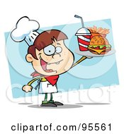 Royalty Free RF Clipart Illustration Of A White Burger Boy Holding Up A Cheeseburger Fries And Cola by Hit Toon