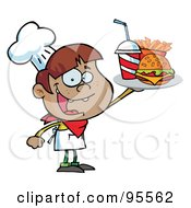 Royalty Free RF Clipart Illustration Of A Black Burger Boy Holding Up A Cheeseburger Fries And Cola