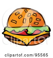 Royalty Free RF Clipart Illustration Of A Cartoon Cheeseburger 1 by Hit Toon
