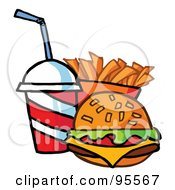 Royalty Free RF Clipart Illustration Of A Cheeseburger With Cola And French Fries 1 by Hit Toon