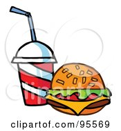 Royalty Free RF Clipart Illustration Of A Cheeseburger Served With Cola 1 by Hit Toon