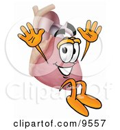 Heart Organ Mascot Cartoon Character Jumping