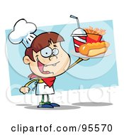 Royalty Free RF Clipart Illustration Of A White Chef Boy Carrying A Hot Dog French Fries And Cola by Hit Toon