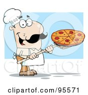 Happy White Chef Carrying A Pizza Pie On A Stove Shovel