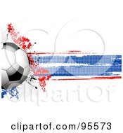 Royalty Free RF Clipart Illustration Of A Soccer Ball Over A Grungy Halftone French Flag by elaineitalia