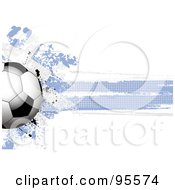 Royalty Free RF Clipart Illustration Of A Soccer Ball Over A Grungy Halftone Greek Flag by elaineitalia