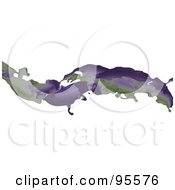 Royalty Free RF Clipart Illustration Of An Abstract Purple And Green Liquid Wave Over White by elaineitalia