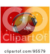 Royalty Free RF Clipart Illustration Of A Disco Ball Wearing Headphones Over A Red And Orange Equalizer Background