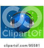 Royalty Free RF Clipart Illustration Of A Blue Disco Globe Wearing Headphones Over A Green And Blue Equalizer Background