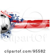 Royalty Free RF Clipart Illustration Of A Soccer Ball Over A Grungy Halftone Australian Flag by elaineitalia