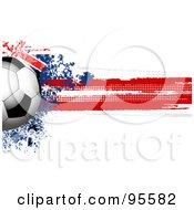Royalty Free RF Clipart Illustration Of A Soccer Ball Over A Grungy Halftone Australian Flag by elaineitalia
