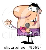 Royalty Free RF Clipart Illustration Of A Male Tv Show Host Using A Microphone by Hit Toon