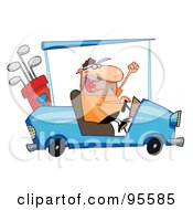 Royalty Free RF Clipart Illustration Of A Golfer Guy Driving A Blue Cart