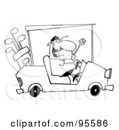 Royalty Free RF Clipart Illustration Of An Outlined Golfer Guy Driving A Cart
