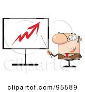 Royalty Free RF Clipart Illustration Of A Businessman Pointing A Stick At An Arrow On A Board by Hit Toon