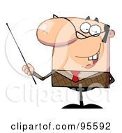 Royalty Free RF Clipart Illustration Of A Friendly Businessman Holding A Pointer Stick