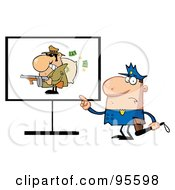 Royalty Free RF Clipart Illustration Of A Police Man Pointing To A Robber Sign by Hit Toon