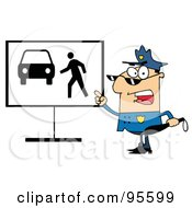 Royalty Free RF Clipart Illustration Of A Police Officer Shouting And Pointing To A Pedestrian Sign