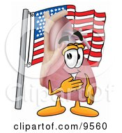 Heart Organ Mascot Cartoon Character Pledging Allegiance To An American Flag
