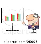 Royalty Free RF Clipart Illustration Of A Friendly Talk Show Host Man Beside A Bar Graph Board by Hit Toon