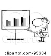Royalty Free RF Clipart Illustration Of An Outlined Talk Show Host Beside A Statistics Board by Hit Toon