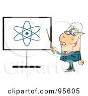Royalty Free RF Clipart Illustration Of A Senior Professor Pointing To An Atom Sign by Hit Toon