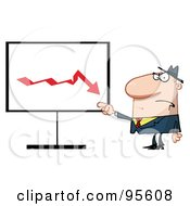 Royalty Free RF Clipart Illustration Of A Grumpy Boss Pointing To A Decline Board
