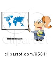 Royalty Free RF Clipart Illustration Of A Happy Female Teacher Pointing To A Map Board