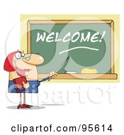 Royalty Free RF Clipart Illustration Of A Lady School Teacher Pointing To Welcome On A Chalk Board