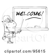 Royalty Free RF Clipart Illustration Of An Outlined Senior Male School Teacher Pointing To A Welcome Chalk Board