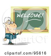 Royalty Free RF Clipart Illustration Of A Senior Male School Teacher Pointing To A Welcome Chalkboard