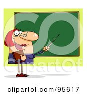 Royalty Free RF Clipart Illustration Of A Friendly Female Teacher Pointing To A Chalkboard