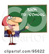 Royalty Free RF Clipart Illustration Of A Welcoming Female Teacher Pointing To A Back To School Chalkboard