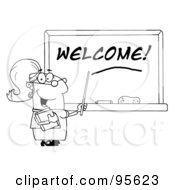 Royalty Free RF Clipart Illustration Of An Outlined Female School Teacher Pointing To Welcome On A Chalkboard