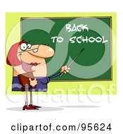 Royalty Free RF Clipart Illustration Of A Friendly Female Teacher Pointing To A Back To School Chalkboard