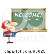 Royalty Free RF Clipart Illustration Of A Lady School Teacher Pointing To Welcome On A Chalkboard