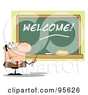 Royalty Free RF Clipart Illustration Of A Male School Teacher Pointing To A Welcome Chalk Board
