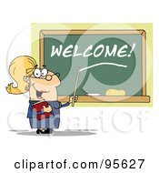 Royalty Free RF Clipart Illustration Of A Blond Lady School Teacher Pointing To Welcome On A Chalkboard