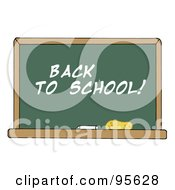 Royalty Free RF Clipart Illustration Of A Back To School Chalkboard In A Classroom