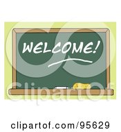 Royalty Free RF Clipart Illustration Of A Welcome Chalkboard In A Class Room