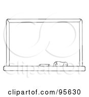 Royalty Free RF Clipart Illustration Of An Outlined Chalkboard In A Classroom