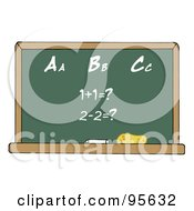 Royalty Free RF Clipart Illustration Of A Math And Alphabet Chalkboard In A Classroom