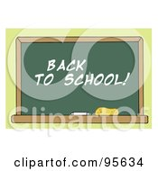 Royalty Free RF Clipart Illustration Of A Back To School Chalkboard In A Class Room